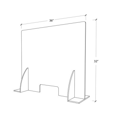 Premium Cough & Sneeze Guard 32h x 36w 6mm Acrylic (With stabilizer)